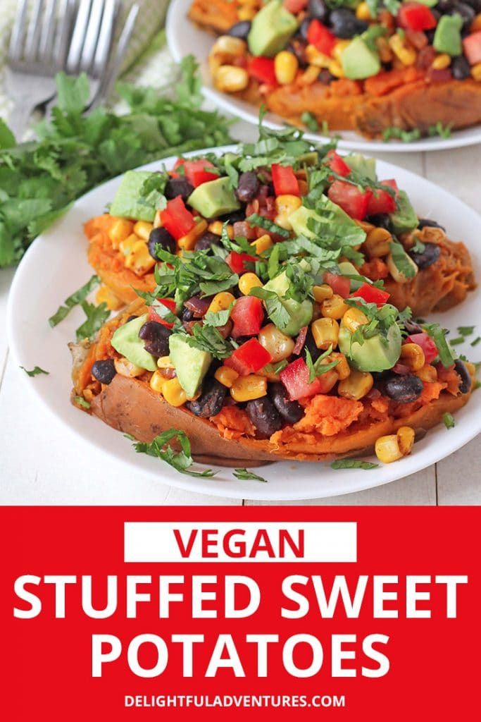 This healthy stuffed sweet potatoes recipe can be served as a light lunch, for dinner, or as a vegan side dish! Filled with black beans, corn and other delicious fillings, these tasty and easy stuffed sweet potatoes are so simple to make, you're going to want to add them to your regular rotation.