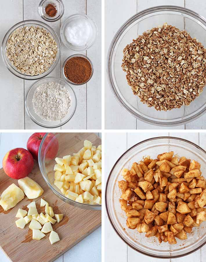First sequence of steps needed to make vegan apple crisp.