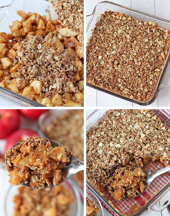 Second sequence of steps needed to make vegan apple crisp.