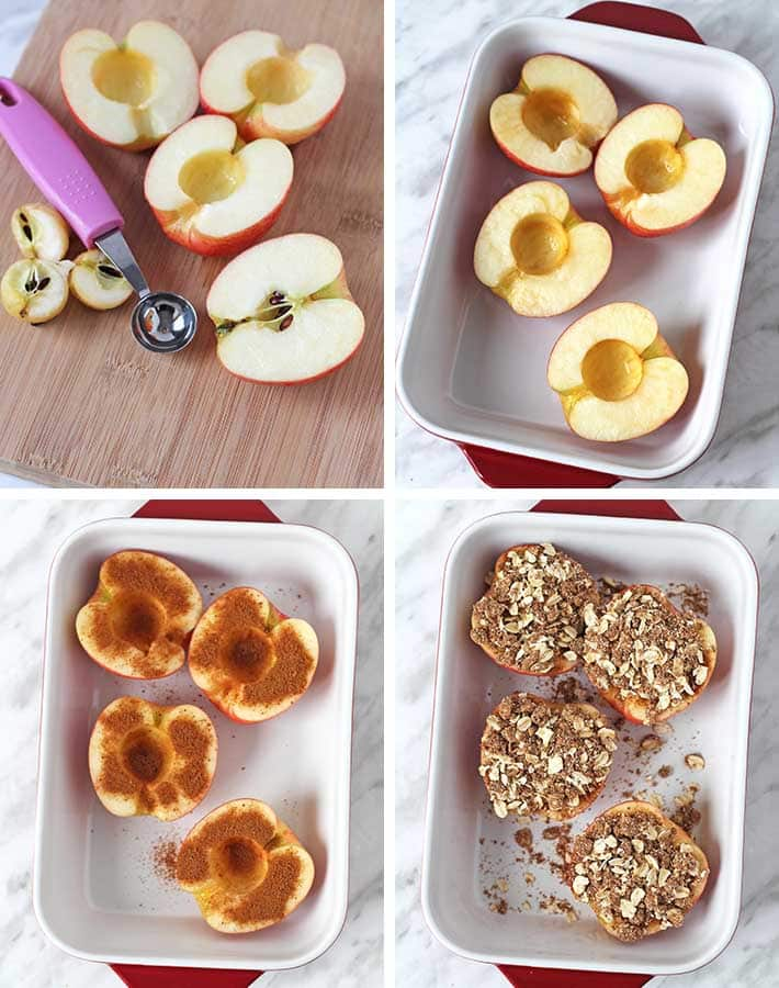 Sequence of steps needed to make vegan baked apples.