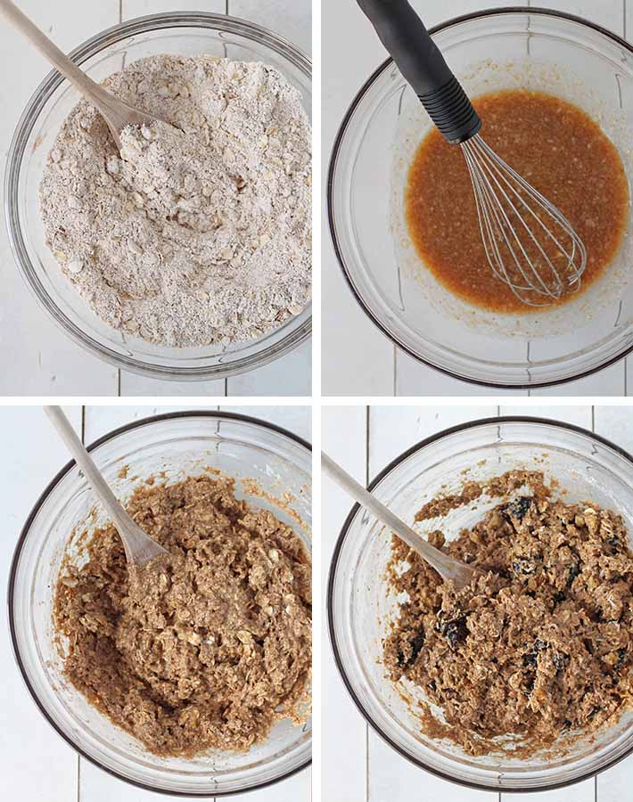 First sequence of steps needed to make vegan breakfast cookies.