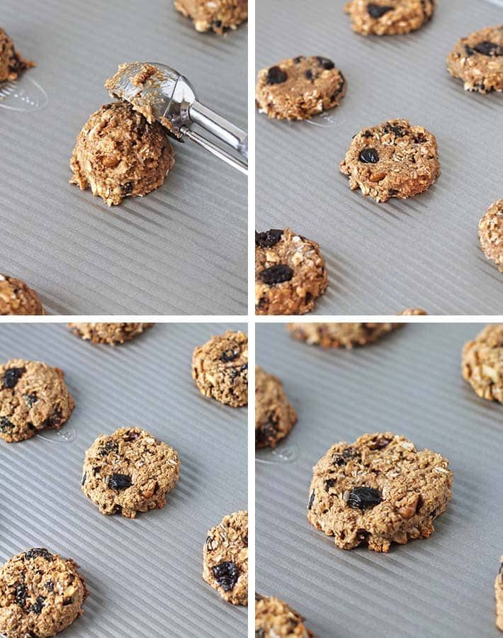 Second sequence of steps needed to make vegan breakfast cookies.
