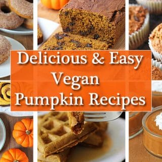A collage of six images of vegan pumpkin recipes.