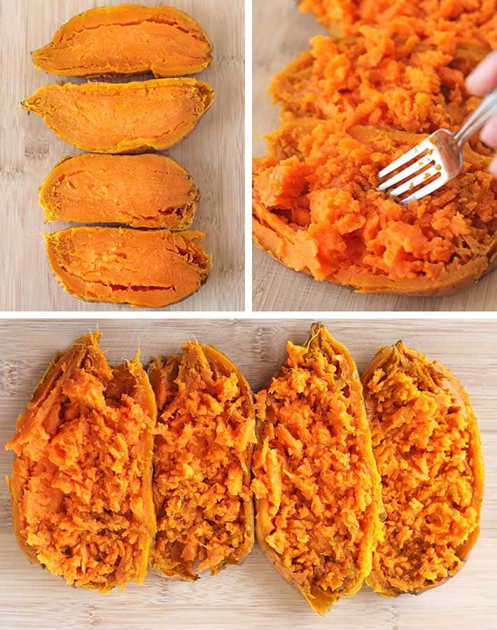 First sequence of steps needed to make vegan stuffed sweet potatoes.