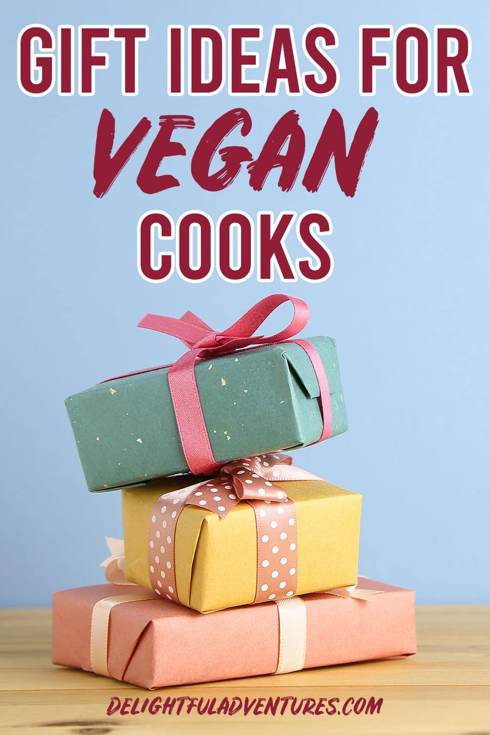 Pinterest image to promote a list of gifts for vegan cooks.