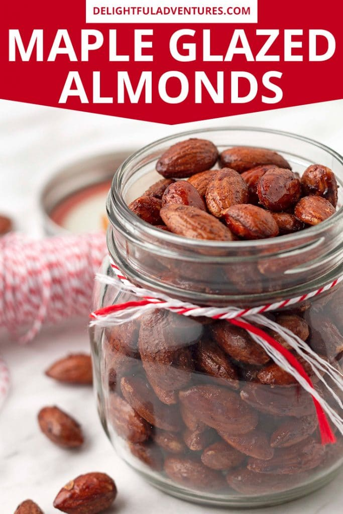 This cinnamon almonds recipe is perfect to make and serve as party snacks, to bring to a potluck, to give as edible holiday gifts, or just for snacking on at home. These maple almonds are made with no eggs, making them vegan. They're slightly sweet, with a hint of warm cinnamon, plus, they're easy to make and once you eat one, you won't be able to stop!