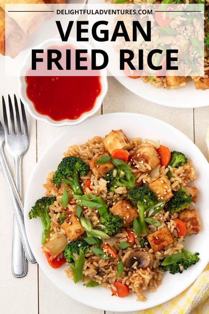 This vegetable fried rice recipe is going quickly become a favourite weeknight meal! Packed with tons of veggies and flavorful garlic ginger tofu, this tofu fried rice is a simple but delicious vegan dinner recipe idea that makes enough to feed a family and still have leftovers for lunch the next day!