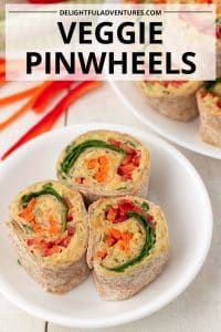 Savoury veggie pinwheels that are filled with a rainbow of fresh vegetables and a delicious, easy to make spread. Serve these vegetable pinwheels as vegan appetizers at your next get-together, or enjoy as snacks or lunch.