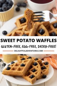 Crispy on the outside, soft and fluffy on the inside, these gluten free sweet potato waffles will have everyone polishing off this easy vegan breakfast (or brunch!) treat. These eggless sweet potato waffles are easy to make and are delicious!