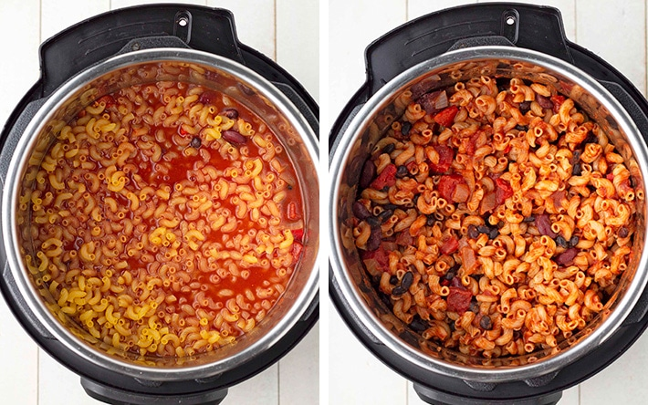 A collage of two images showing the before and after of Instant Pot chili mac, one cooked, one not cooked.