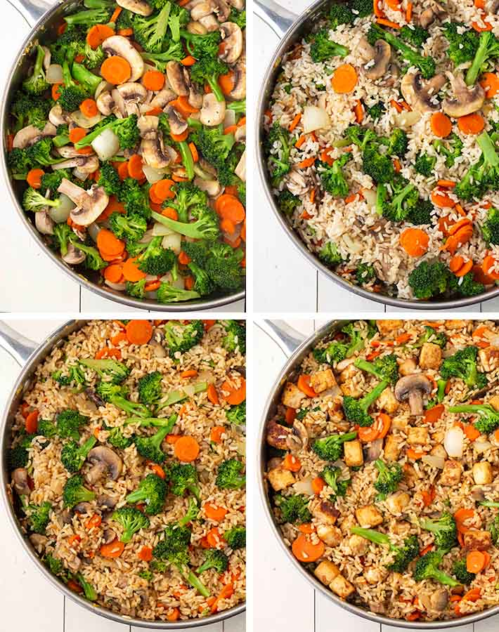 Second sequence of steps needed to make vegan fried rice.