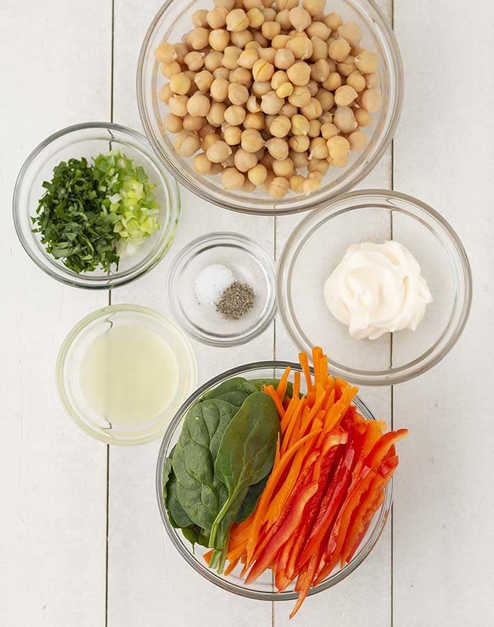 Overhead shot of the ingredients needed to make vegetarian pinwheels.