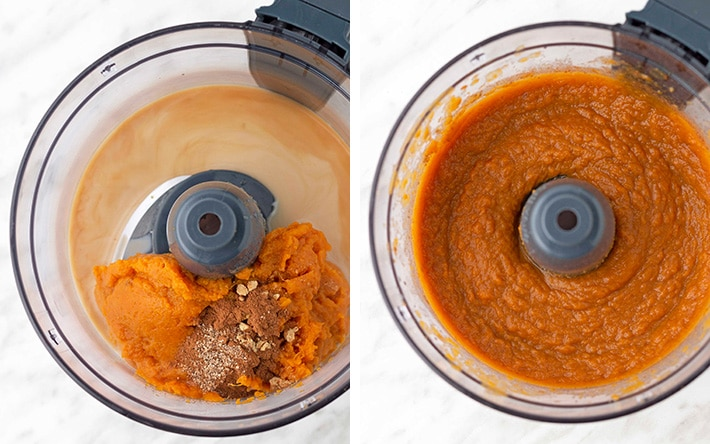 A collage of 2 images showing the two steps needed to make vegan sweet potato pudding.