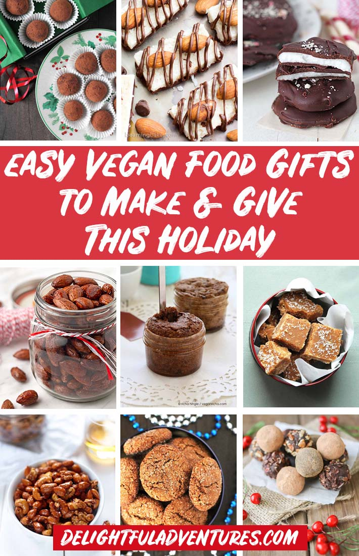 Pinterest collage of images of vegan food gifts for pinning on Pinterest.