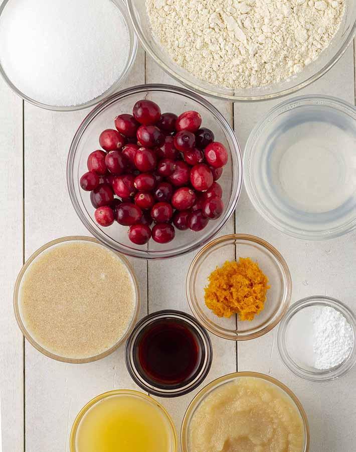 Overhead shot of the ingredients needed to make vegan cranberry orange bread.