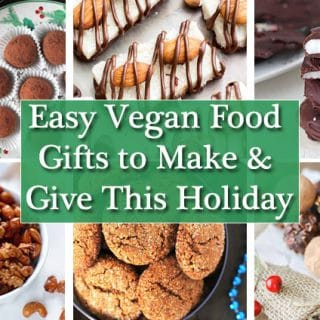 Collage of six images showing ideas for vegan gifts to give for the holidays.