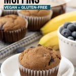 Pinterest pin showing gluten free banana blueberry muffins, this image is to be used to pin this recipe to Pinterest.