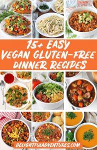 Pinterest collage of images of vegan gluten-free dinner recipes for pinning on Pinterest.