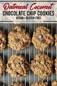 Pinterest pin showing vegan gluten free oatmeal coconut chocolate chip cookies, this image is to be used to pin this recipe to Pinterest.
