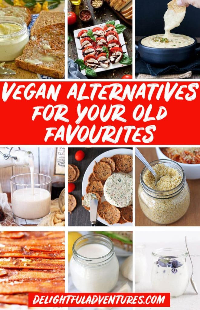 Pinterest collage of images of vegan alternatives for pinning on Pinterest.
