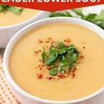 Pinterest pin showing Instant Pot cauliflower soup, this image is to be used to pin this recipe to Pinterest.