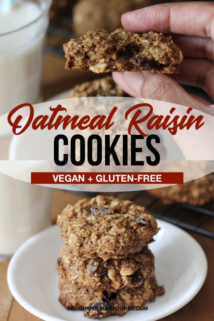 Pinterest pin showing vegan gluten free oatmeal raisin cookies, this image is to be used to pin this recipe to Pinterest.