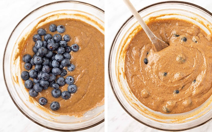 Two images showing the sequence of steps needed to make the batter for gluten free banana blueberry muffins.
