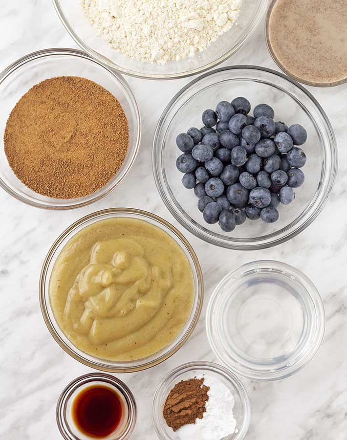 Overhead shot of the ingredients needed to make vegan blueberry banana muffins.