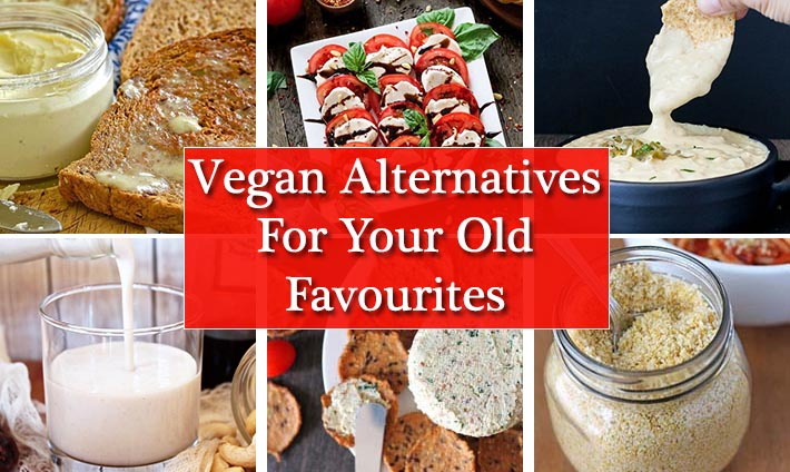 A collage of six images showing recipes for vegan alternatives.
