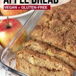 Pinterest pin showing a loaf of cinnamon swirl apple bread, this image is to be used to pin this recipe to Pinterest.