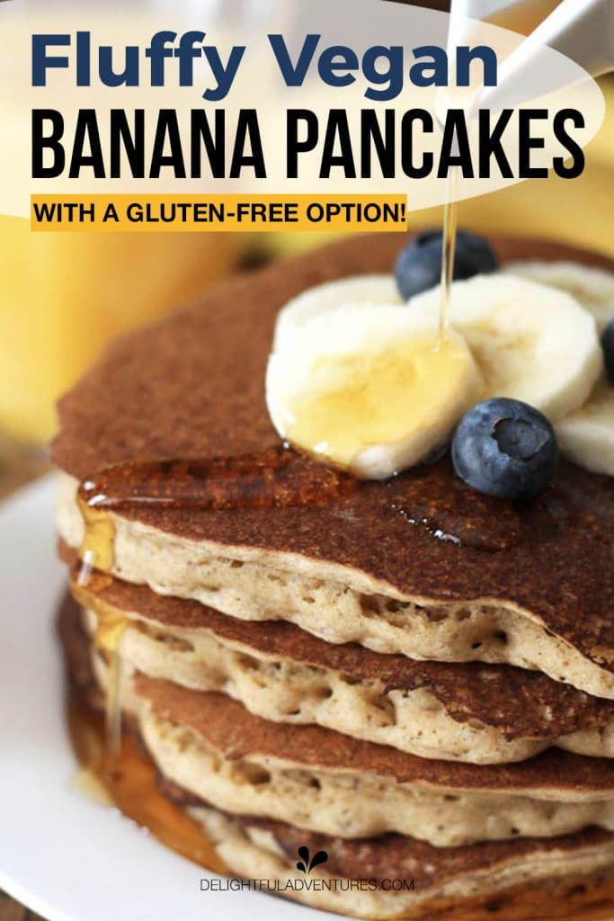 Pinterest pin showing a stack of banana pancakes being drizzled with maple syrup, this image is to be used to pin this recipe to Pinterest.
