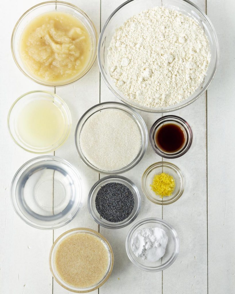 Overhead shot of all the ingredients needed to make glutenfree lemon poppy seed muffins.