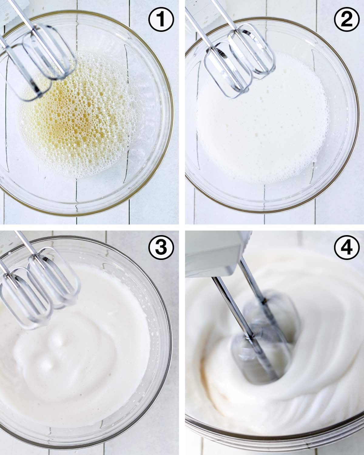 A collage of four images showing the progression of aquafaba when whipping it.
