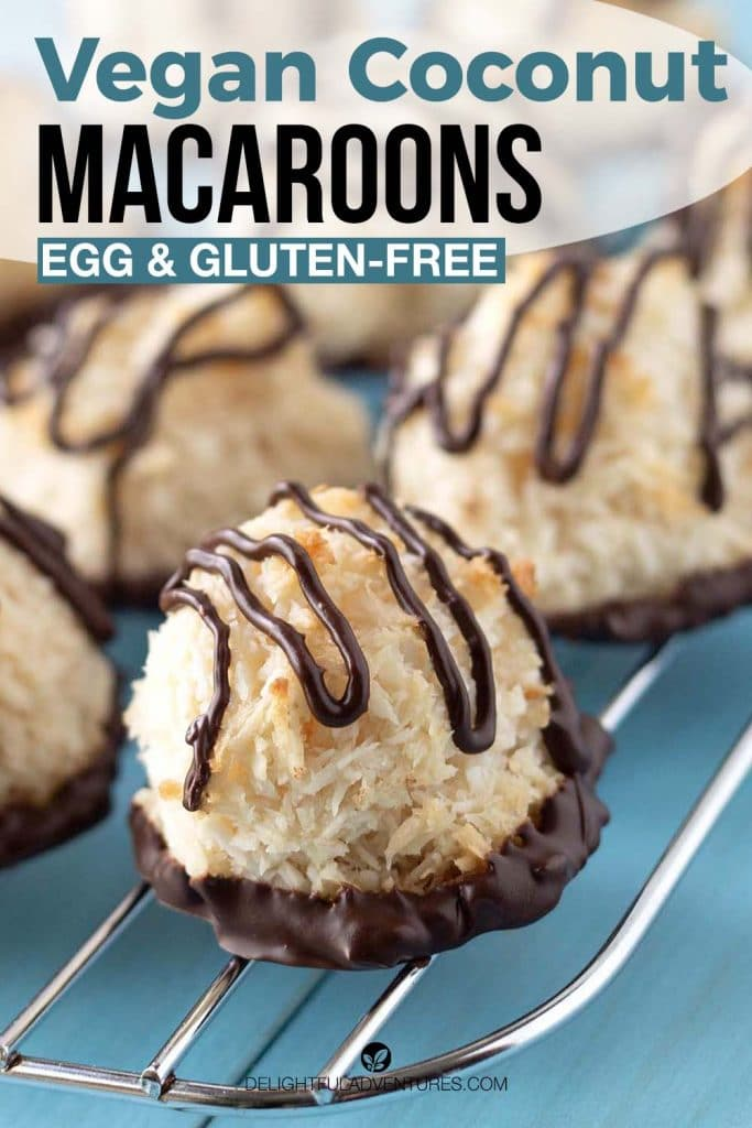 Pinterest pin showing vegan coconut macaroons on a baking rack, this image is to be used to pin this recipe to Pinterest.