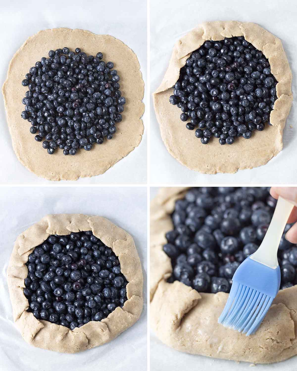 A collage of four images showing the third sequence of steps needed to make a gluten free blueberry galette.