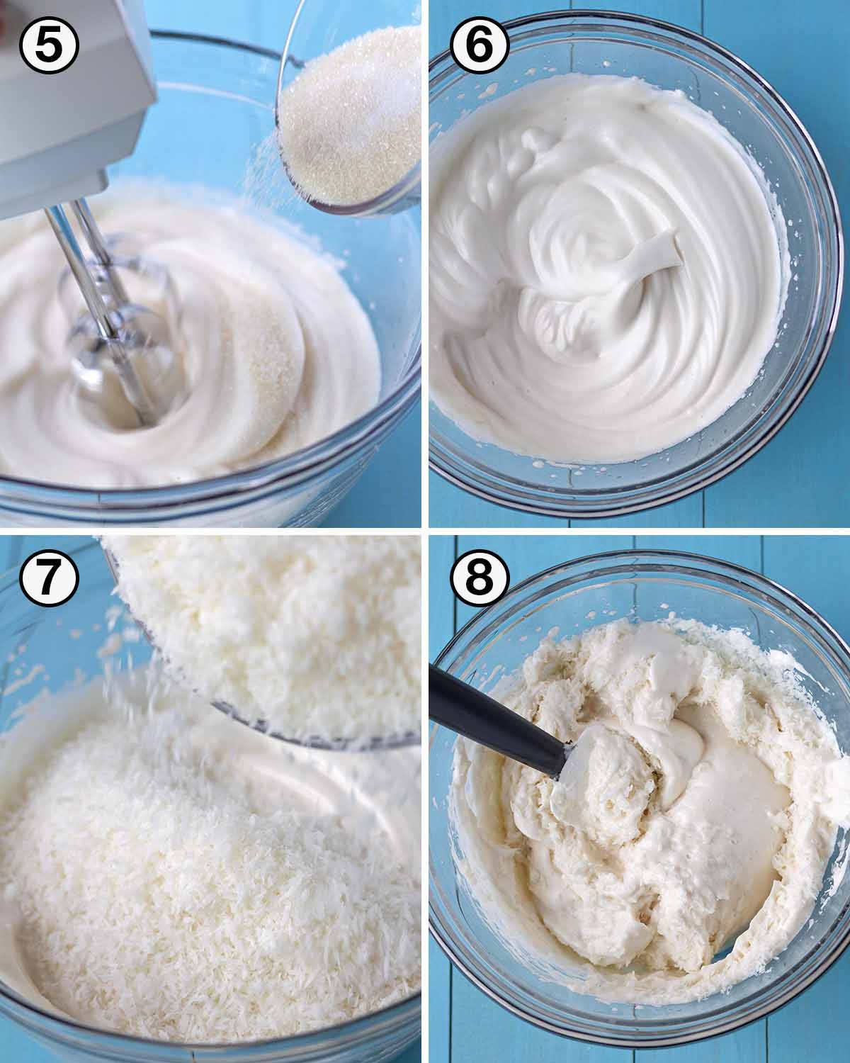 A collage of four images showing the second sequence of steps needed to make coconut aquafaba macaroons.