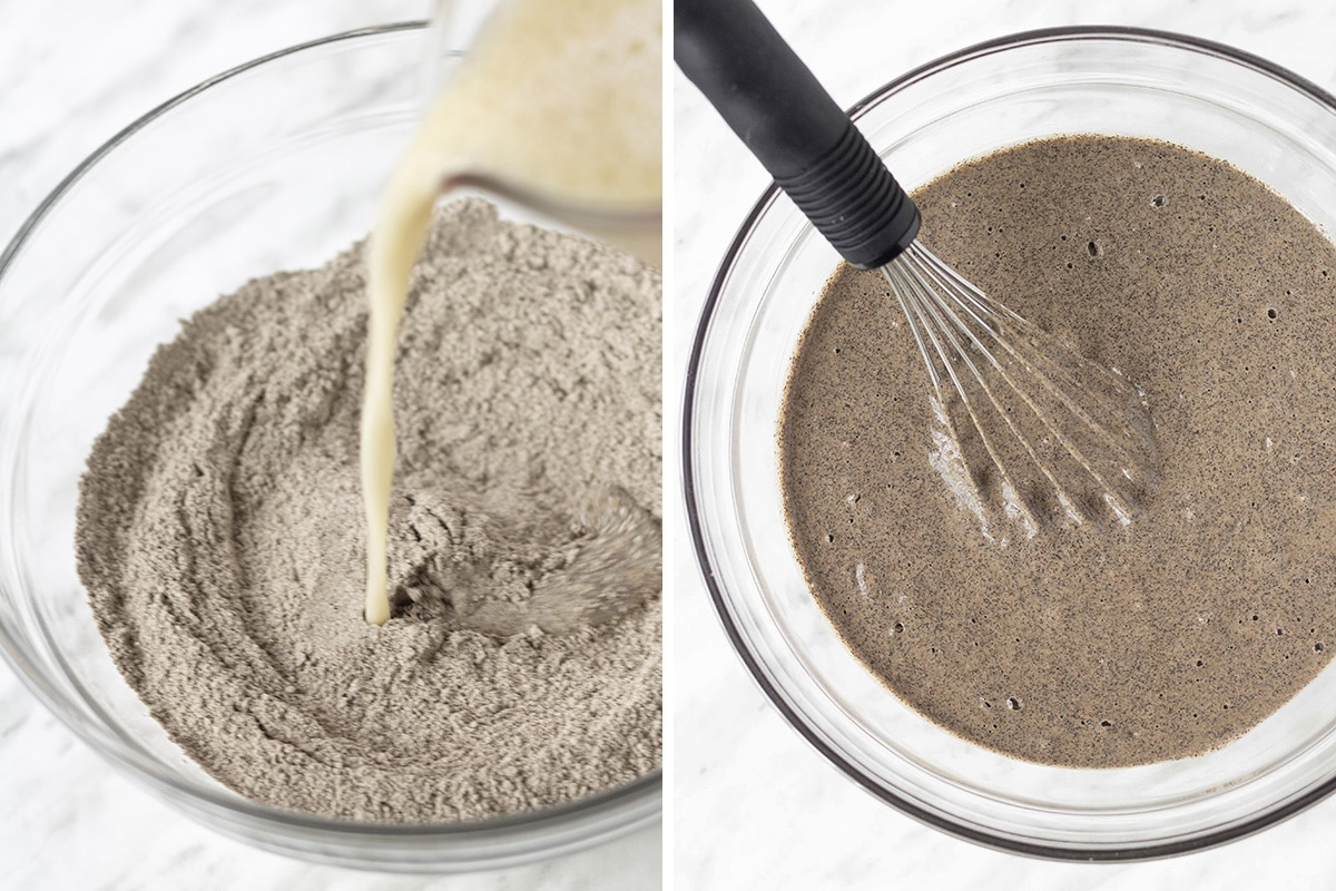 Two side by side images, the image on the left is showing wet ingredients being poured into a bowl of dry ingredients, the image on the right is showing the mixed pancake batter.