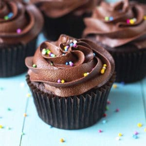 A close up shot of a frosted vegan gluten free chocolate cupcake with sprinkles on top.