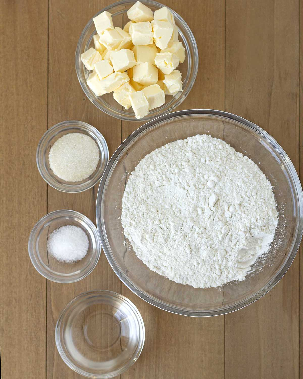 Overhead shot of the ingredients needed to make a vegan gluten free crust.