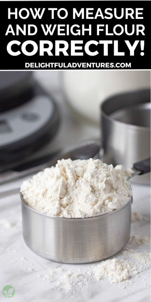 Pinterest pin showing an image of a metal measuring cup filled with flour, the image has a text overlay, this image is to be used to pin this recipe to Pinterest.