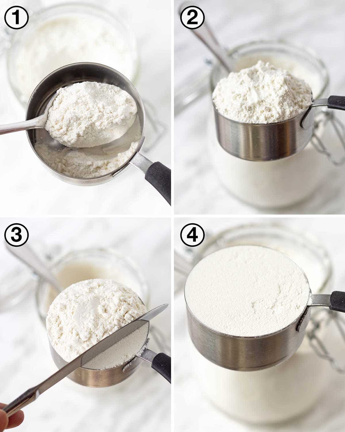 A collage of four images showing the sequence of steps to measure flour with measuring cups.