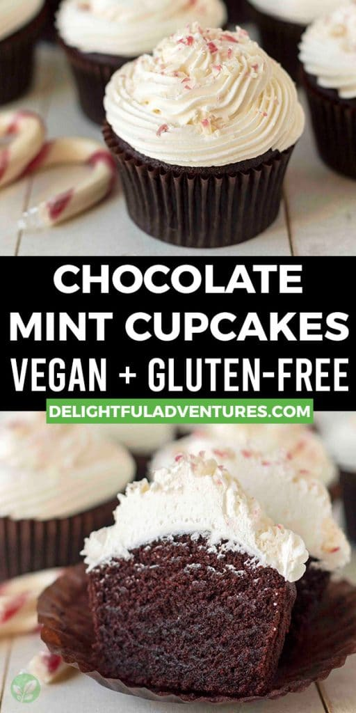 Pinterest pin showing two images of vegan mint chocolate cupcakes, this image is to be used to pin this recipe to Pinterest.