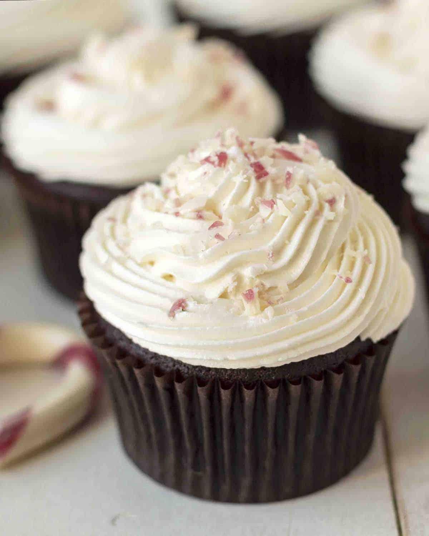 Close up shot of a gluten free chocolate peppermint cupcake.