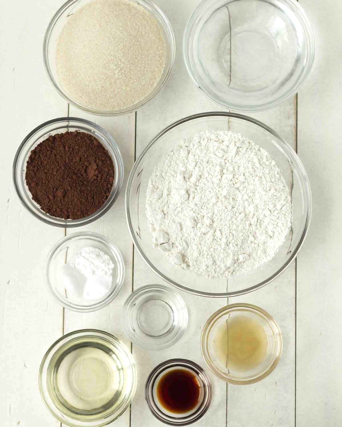 Overhead shot of the ingredients needed to make a batch of gluten free peppermint cupcakes.