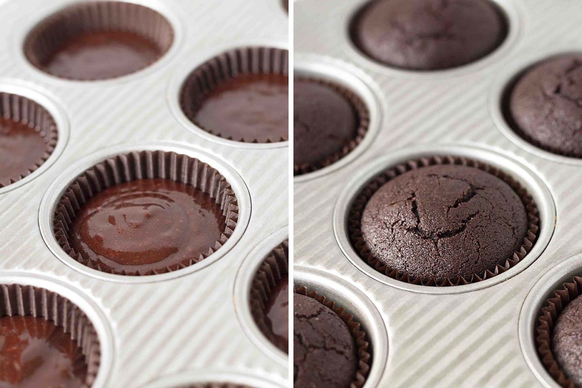 Two side by side images showing chocolate mint cupcake batter in a cupcake pan, the second image shows the baked cupcakes.