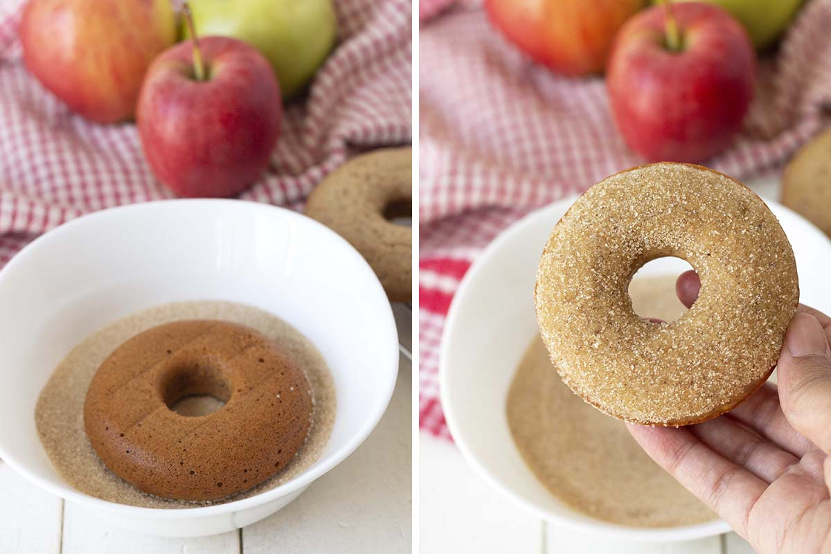 Two images, the one on the left shows a donut being dipped in sugar, the one on the right is a hand holding up the dipped donut.
