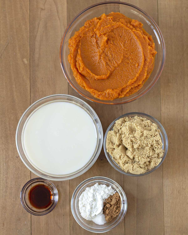 Overhead shot of the ingredients needed to make vegan gluten free pumpkin pie.
