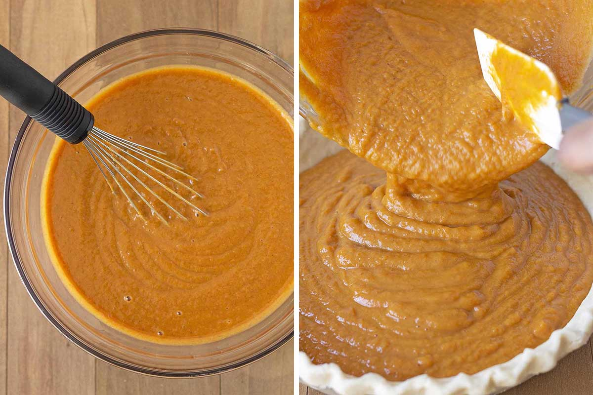 Two images, one shows pumpkin pie filling in a glass bowl, the second shows the filling being poured in the crust.