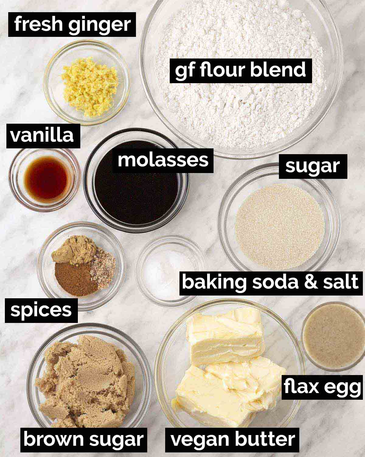 An overhead shot of the ingredients needed to make vegan gluten free molasses cookies.