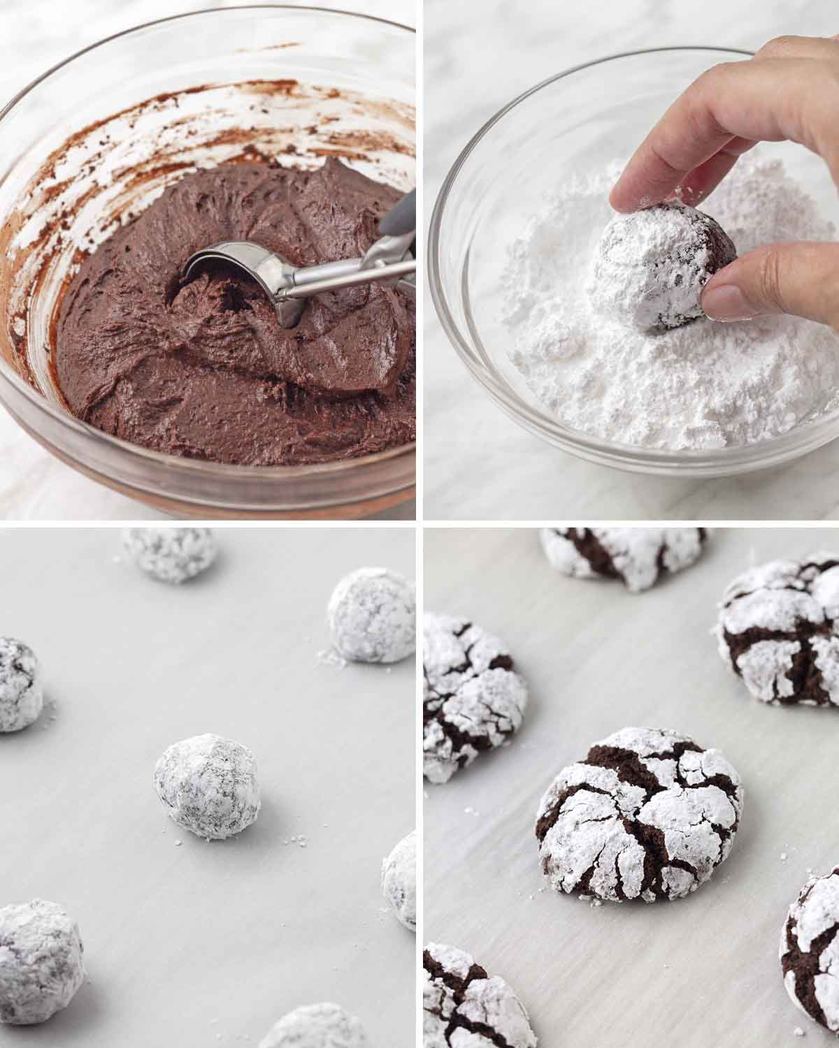 A collage of four images showing the second sequence of steps needed to make gf chocolate crinkle cookies.